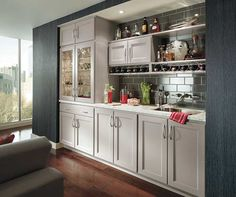 These contemporary bar cabinets have a creative cabinet design that instantly provides more storage and a sense of space. Kitchen Cabinets In Bathroom, Granite Kitchen, Kitchen Cabinetry, Bar Cabinets, Bathroom Countertops, Homecrest Cabinets, Kitchen Photos, Kitchen Ideas, Kitchen Layouts