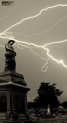 (c) 2013 www.gouldsmith.com  lightning at cemetery