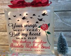 "Honor your loved one with this Your wings were ready but my heart was not personalized, lighted glass block. This special creation will remind you that although they are gone, they are not forgotten. Long associated with beauty and perfection, red roses are a time-honored way to say ""I love you."" Bright and beautiful to behold, but pink roses are also fabulously versatile when you have something important to say. A classic symbol of grace and elegance, the pink rose is often a token of…"