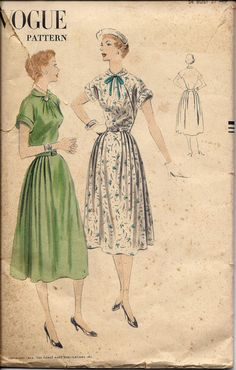 VTG 1950's Vogue 7637 Dress Pattern, Easy to Make,  Size 16, bust 34, UNCUT