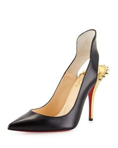 Survivita Leather Spike Red Sole Pump, Black/Gold by Christian Louboutin