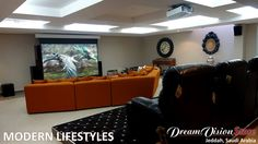 A nice installation by Modern Lifestyles in Saudi Arabia. Thanks to an automation system the sky windows can be shuttered while projecting a movie, turning this bright living-room into a real #homecinema. www.mlstyles.com #hometheater https://www.facebook.com/DreamvisionParis/photos/a.457546329025.259059.194301129025/10153223860289026/?type=1