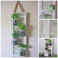 Recycled Shutter Mason Jar Herb Garden --awesome idea for herb garden in the kitchen!