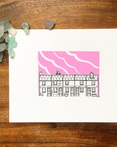 st ives cornwall illustration - 'pink' - stylised cornish cottages drawing - st ives pink sky - hand drawn houses at sunset. by lightboxing on Etsy https://www.etsy.com/listing/484702961/st-ives-cornwall-illustration-pink