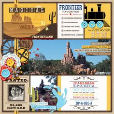 """Disney Frontierland Project Life page by PuSticks featuring """"Project Mouse: Frontier"""" by Britt-ish Designs and Sahlin Studio"""
