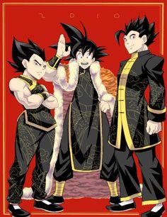 Vegeta, Goku and Gohan