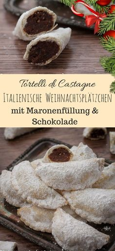 Italian Christmas Cookies with Chestnut Filling {Tortell . - Italian Christmas cookies with chestnut filling and chocolate – Tortelli di Castagne # Christmas recipes, # Christmas biscuits, # chestnuts, # cookies Italian Christmas Cookies, Christmas Baking, Christmas Treats, Christmas Parties, Traditional Christmas Cookies, Italian Christmas Traditions, Christmas Truffles, Christmas Biscuits, Christmas Chocolate