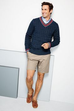 Men's Cotton Cricket Cable V-neck Sweater from Lands' End