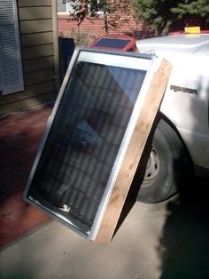 A very effective solar hot air heater to heat your home, chicken coop or where ever you need heat. this project is cheep to build and only takes 2 to 4 hours to build.  the materials you will need are  double pane glass window. 2x6 lumber plywood Styrofoam or cardboard optional tape to seal Styrofoam seams Great stuff spray foam flat black spray paint Nails and screws lots of pop cans