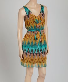 Loving this Teal Abstract Sleeveless Dress on #zulily! #zulilyfinds