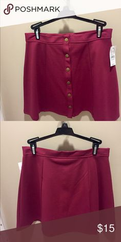 Button up skirt Maroon, buttons up the front, high waisted, thick material (polyester maybe), never been worn PacSun Skirts Mini