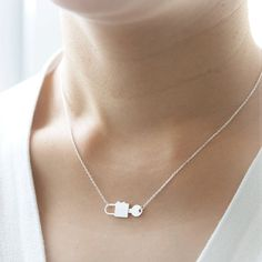 Key and Lock Necklace in silver by laonato on Etsy