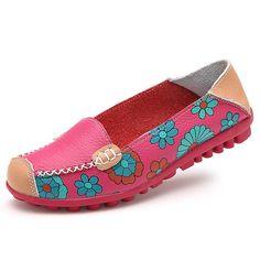 Big Size Women Flower Floral Leather Loafers Moccasins Flats Soft Ballet Shoes…
