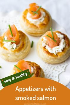 Whipped Cream Cheese, Mustard and Smoked Salmon carefully nested into a puff pastry shell create a delicious party food. These Smoked Salmon Vol Au Vents are seriously scrumptious. Smoked Salmon Breakfast, Smoked Salmon Cream Cheese, Smoked Salmon Pasta, Smoked Salmon Appetizer, Smoked Salmon Recipes, Puff Pastry Shell Recipe, Puff Pastry Recipes, Healthy Appetizers, Appetizer Recipes