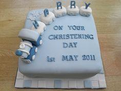 boys train and carriages cake christening/baptism.cakeebakey   Flickr - Photo Sharing!