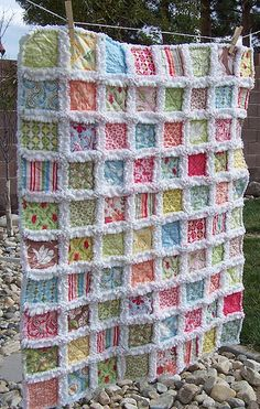 "Baby Rag Quilt. I think a cream colored minky dot fabric would be great for the ""rag"" edges!"