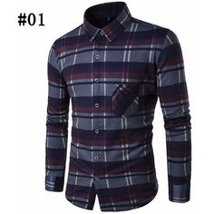 Thicken Plaid Dress Shirts Casual Business Long Sleeve Slim Fit Shirts... (969,925 BAM) ❤ liked on Polyvore featuring men's fashion, men's clothing and men's shirts