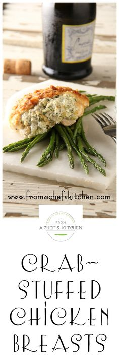 Crab Stuffed Chicken Breasts are easy enough for a weeknight yet elegant enough for a dinner party. via (Stuffed Chicken) Crab Recipes, Turkey Recipes, Chicken Recipes, Recipies, Yummy Recipes, Dinner Recipes, Chicken Ideas, Entree Recipes, Good Food