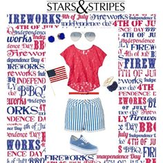 """""""Stars and Stripes"""" by redheadartist99 on Polyvore School Spirit Days, 4th Of July, Stripes, Stars, Polyvore, India, Independence Day, Sterne, July 4th"""