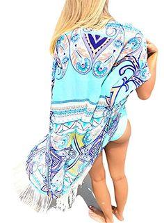 d15181f3a3 Rainlover Womens Fashion Swimwear Tassel Kimono Bikini Cover Up Beach  Dresses Blue -- Check out