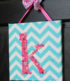 DIY Monogrammed Button Canvas Wall Art