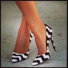 Chevron black and white striped heels!
