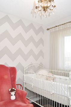 white and grey nursery - love the chevron wall.  darker grey, though.