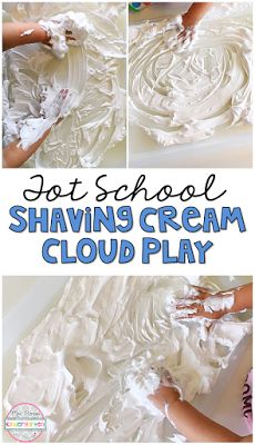 This shaving cream cloud activity was messy, easy, and pure fun for out weather theme. Perfect for tot school, preschool, or the kindergarten classroom.