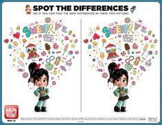 PRINTABLES INCLUDED: 19 x pages of Ralph Breaks the Internet Free Printable Activity Sheets: 3 Coloring Pages 1 Spot the Difference 4 Door Handle Hangers 6 pages of Memory Game 4 pages of Costume Tutorial 1 page of Design your own Character. Disney Coloring Pages Printables, Disney Coloring Sheets, Disney Printables, Free Printables, Character Activities, Drawing Activities, Spot The Difference Printable, Disney Activities, Disney Games