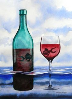 Wine & Fish The official website of Artist Derek Gundy, Fish Art, Wine Art, Art Classes, Art Marketing