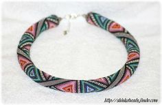 Triangles colorful geometric bead crochet rope by Shinkabeads