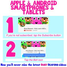 You only need to tap twice to get notified about the latest Busy Beavers videos! Here are the two simple steps ☺