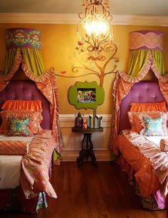chartreuse, floral, greens, oranges ~ girls bedroom inspiration
