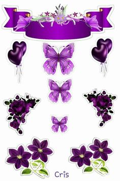 Princess Cake Toppers, Cupcake Toppers, Purple Butterfly, Purple Flowers, Printable Stickers, Planner Stickers, Birthday Card With Name, Girly Cakes, Diy And Crafts