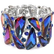 Iceberg Blue Vitrail Wide Crystal Bracelet Elegant Formal Jewelry