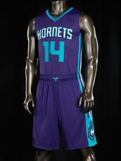 """ROAD (PURPLE) · Teal neckline with purple stripe · White """"Hornets"""" wordmark with teal background · Teal tone-on-tone numbers on front and ba..."""