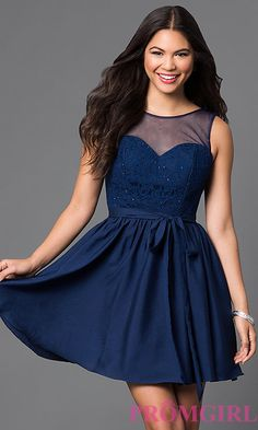 Image of short lace-bodice illusion homecoming dress. Style: PO-7500 Front Image