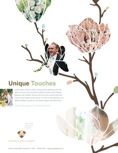 Module 5: I love this layout from a wedding catalog. I like the way they used images inside the flower graphic.