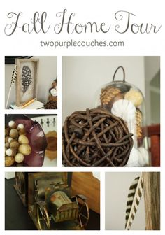 Fall Home Tour - neutral, natural, and vintage with pops of purple. via www.twopurpleouches.com