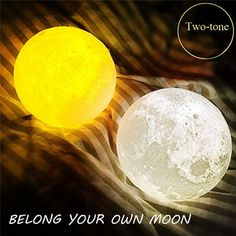 DecBest 18cm 3D Magical Two Tone Moon Lamp USB Charging Luna LED Night Light Touch Sensor Gift is Multicolor-NewChic