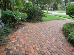 A brick paver driveway adds serious curb-appeal! Houzz, Brick Paver Driveway, Walkway, New Patio Ideas, Yard Ideas, Types Of Bricks, Patio Pictures, Brick Edging, Driveway Design