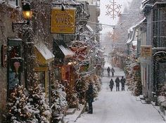 Old Quebec Street - Montreal, Quebec, Canada. Canada/NewEngland cruises sail from New York to Quebec for 10 nights usually, but NOT usually during the winter. J'aime Quebec et les Quebecois. Winter Szenen, Winter Time, Winter Walk, Winter Magic, Paris Winter, Noel Christmas, Winter Christmas, Christmas Scenes, Canada Christmas