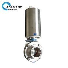 Sanitary Butterfly Valves with Tri-clamp Ends, Pneumatic Operation