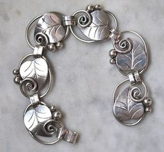 GEORG JENSEN STERLING BRACELET OF LEAVES AND BERRIES