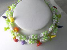 Vintage Celluloid Fruit Salad Necklace  by VintageLaneJewelry