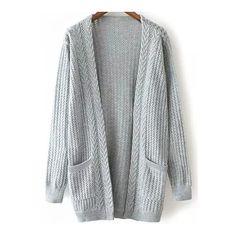 SheIn(sheinside) Open-Knit Pockets Grey Cardigan ( 21) found on Polyvore 7159194838f
