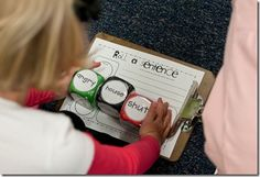 3 dice- verbs, nouns, adjectives.  Students roll all 3 and create a sentence, then write it down.
