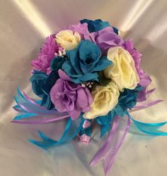 Round Wedding Bridal Bouquet Package Lavender Turquoise Silk Wedding Flowers #WeddingFlowers