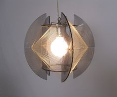 MOD 1960s lucite and string art PENDANT LAMP by SelectModern, $200.00