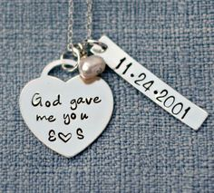 Personalized Necklace - God Gave Me You Necklace - Wedding Date Necklace - Anniversary Necklace - New Baby Necklace